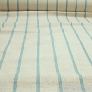 Stoff Baumwolle Leinwand natur grob Streifen türkis ungefärbt Baumwollstoff