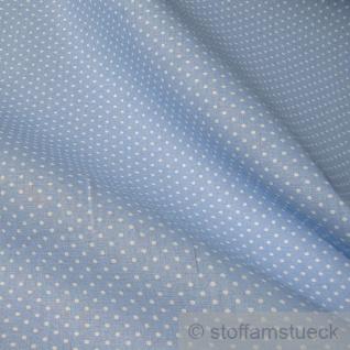 Stoff Baumwolle Punkte ganz klein hellblau weiß Tupfen Baumwollstoff
