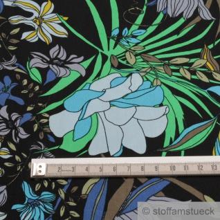 Stoff Viskose schwarz Blume blau fließend leicht weich Blumen farbenfroh - Vorschau 5