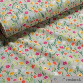 0, 5 Meter Stoff Baumwolle Elastan Single Jersey hellgrau Blume Blumen
