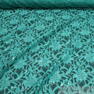 Stoff Polyamid Polyester Elastan Spitze petrol Blume Pailletten fließend haut