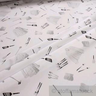 Stoff Polyester Baumwolle Köper Hobbykoch Köchin Kochmütze Kochjacke Gabel