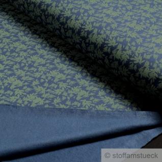 Stoff Baumwolle Elastan Single Jersey blau Blatt oliv angeraut Blätter - Vorschau 3