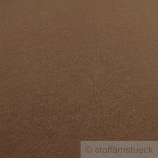 0, 5 Meter Stoff Baumwolle Single Jersey braun angeraut Sweatshirt weich dehnbar - Vorschau 3