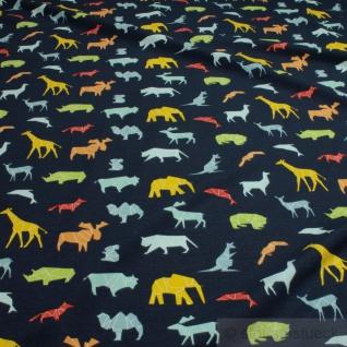 0, 5 Meter Stoff Baumwolle Elastan Single Jersey dunkelblau wilde Tiere Giraffe - Vorschau 2