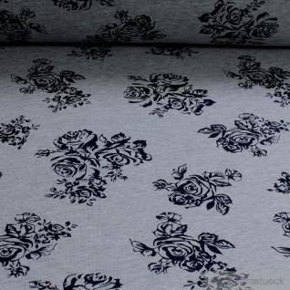 Stoff Baumwolle Polyester Single Jersey hellgrau Rose dunkelblau angeraut