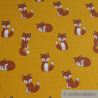 0, 5 Meter Kinderstoff Baumwolle Elastan Single Jersey ocker Fuchs dehnbar weich - Vorschau 2