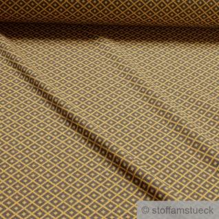 0, 5 Meter Recycelt Baumwolle Polyester Elastan Jacquard Jersey Raute grau ocker