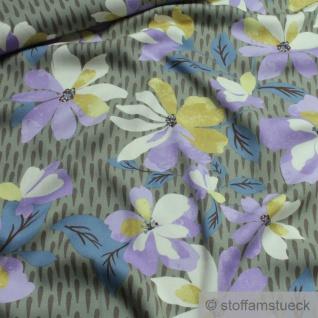 Stoff Viskose Feinköper khaki Blume fließend leicht weich Blumen farbenfroh