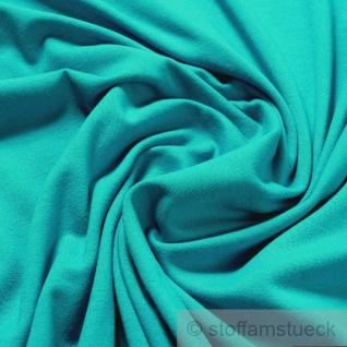 0, 5 Meter Stoff Baumwolle Interlock Jersey aqua T-Shirt Tricot weich dehnbar - Vorschau