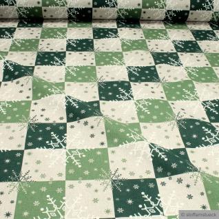 Weihnachtsstoff Stoff Baumwolle Polyester Rips natur Schneeflocke grün