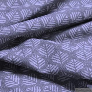 Stoff Baumwolle Elastan Single Jersey Blatt grau hellgrau Blättchen - Vorschau 4