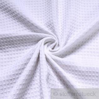 Stoff Baumwolle Waffelpiqué weiß Waffelpikee Waffelpique weiss
