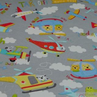 Stoff Kinderstoff Baumwolle Elastan Single Jersey hellgrau Flugzeug Oeko-Tex 100 - Vorschau 3