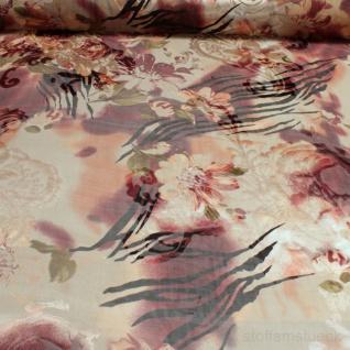 Stoff Viskose Polyester Chiffon beige braun Blume transparent leicht