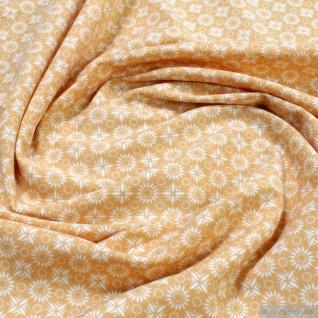 Stoff Baumwolle Elastan Single Jersey Blümchen ocker weiß allover Blume