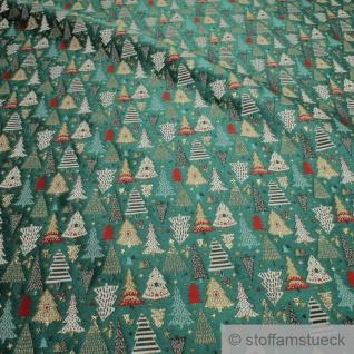 Stoff Polyester Baumwolle Gobelin grün Tannenbaum glitzernd blickdicht