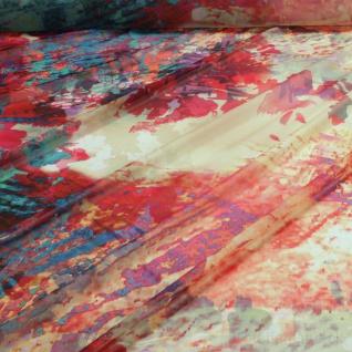 Stoff Polyester Chiffon Batik-Optik petrol orange bunt transparent leicht