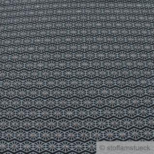 0, 5 Meter Stoff Baumwolle Elastan Single Jersey schwarz Raute grau Glitzer - Vorschau 2