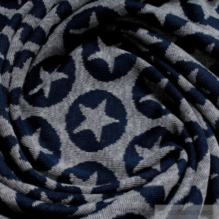 Stoff Baumwolle Polyester Jacquard Jersey Stern hellgrau dunkelblau Öko-Tex