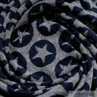 Stoff Baumwolle Polyester Single Jersey Stern hellgrau dunkelblau angeraut