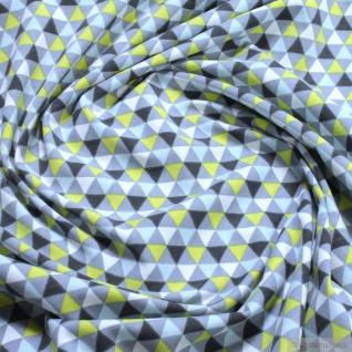 0, 5 Meter Stoff Baumwolle Elastan Single Jersey Dreieck grau grün Geometrie
