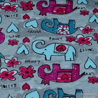 0, 5 Meter Stoff Kinderstoff Baumwolle Elastan Single Jersey hellgrau Elefant - Vorschau 3