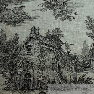 Stoff Leinen Toile de Jouy Ernte natur schwarz Reinleinen klassisch - Vorschau 4