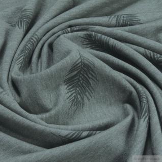 Stoff Baumwolle Polyester Elastan Single Jersey oliv meliert Feder