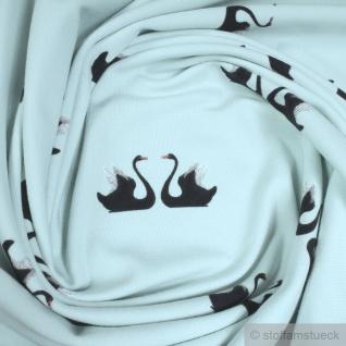 Stoff Baumwolle Lycra Single Jersey pastelltürkis Schwan weich Öko-Tex Standard