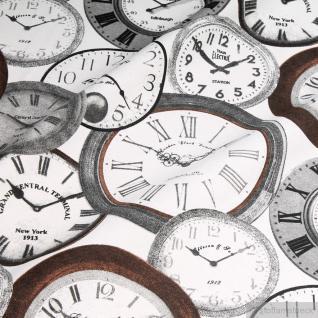 Stoff Baumwolle Polyester ecru Uhr Zifferblatt Internationale Zeiten