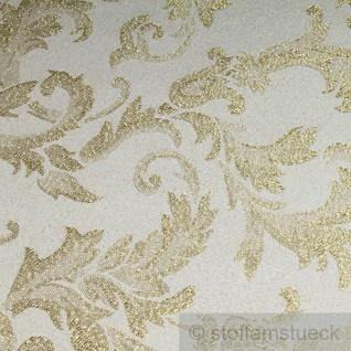 Stoff Polyester Jacquard Ornament ecru gold Lurex Goldbrokat Barock Rokoko 280 cm überbreit - Vorschau 3