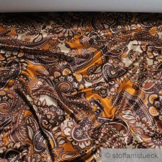 Stoff Viskose Samt Paisley terracotta braun Polstersamt Polsterstoff