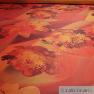 Stoff Polyester Kleidertaft orange Orchidee rot Taft bedruckt blickdicht