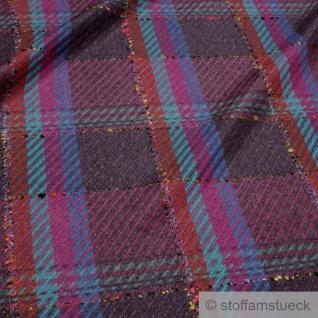 Stoff Wolle Polyester Köper Karo bunt Überkaro - Vorschau 2