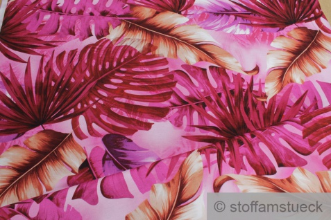 0, 5 Meter Stoff Viskose Elastan Single Jersey pink Dschungel fließend fallend
