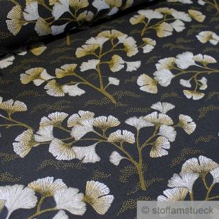 Stoff Polyester Gobelin anthrazit Ginkgo silber Blatt
