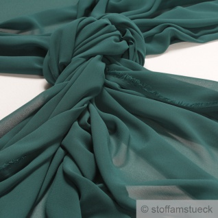Stoff Polyester Chiffon grün transparent leicht weich fallend tannengrün