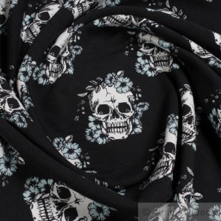 Stoff Baumwolle Elastan Single Jersey schwarz Totenkopf angeraut weich