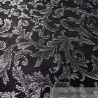 Stoff Polyester Jacquard Ornament schwarz silber Lurex Silberbrokat Barock 300 - Vorschau 3