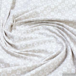 0, 5 Meter Stoff Baumwolle Elastan Single Jersey Blümchen beige weiß allover
