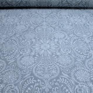 Stoff Leinen Ornament graublau weiß Reinleinen