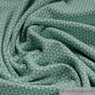0, 5 Meter Recycelt Baumwolle Polyester Elastan Jacquard Jersey Raute ecru türkis
