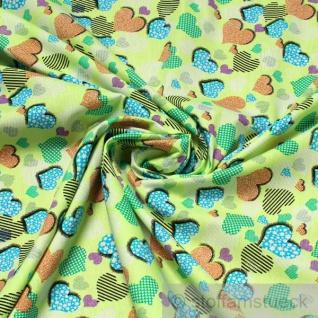 Stoff Kinderstoff Baumwolle hellgrün Herzchen Herz Baumwollstoff