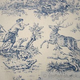 Stoff Baumwolle Rips Toile de Jouy Jagd ecru blau 280 cm breit überbreit - Vorschau 3