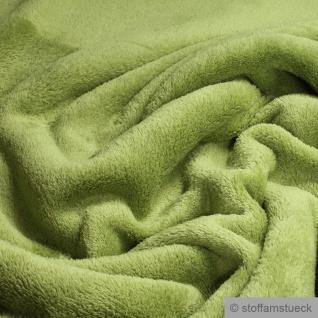 Stoff Polyester Wellness Fleece grün Kuschelfleece greenery