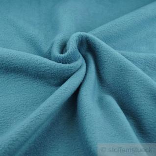 Stoff Polyester Fleece petrol warm weich