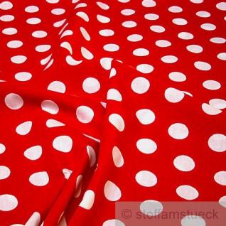 Stoff Baumwolle Punkte groß rot weiß Tupfen Dots Baumwollstoff