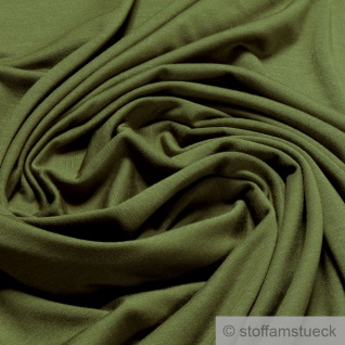 0, 5 Meter Stoff Bambus Elastan Single Jersey khaki atmungsaktiv knitterarm oliv