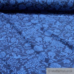Recycelt Stoff Baumwolle Polyester Elastan Jacquard Jersey dunkelblau Blume blau
